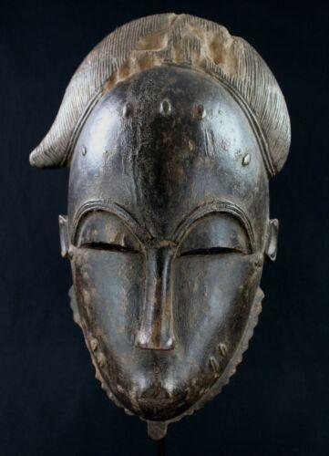 Art African - Antique Mask Baoulé Wooden Weathered - Billiards Ball Akan - 32,5