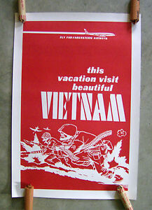 THIS VACATION VISIT BEAUTIFUL VIETNAM vintage political poster vtg
