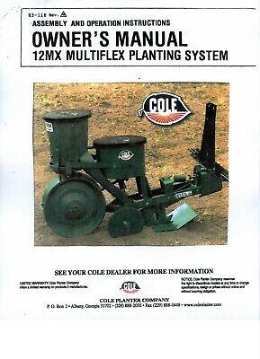 Cole Garden Planter Fertilizer 12mx Multiplex Owners Manual Parts List Cd