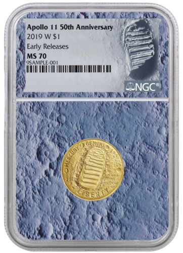 2019 Apollo 11 50th Annv $5 Gold Commem NGC MS70 ER Moon Core SKU56520