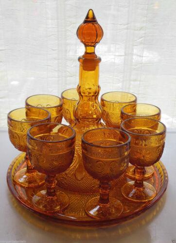 Tiara Indiana Glass Amber Sandwich Tray Goblets Decanter 11 Piece Set