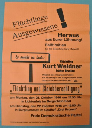 Post WW2 German Poster Free Democratic Party Kurt Weidner Committee for Refugees