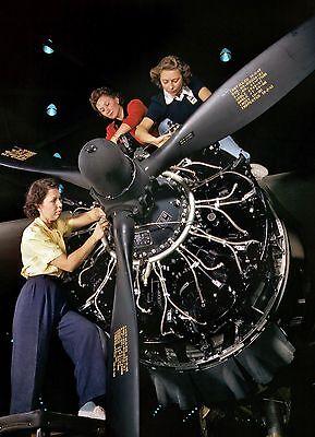 Rosie Riveter PHOTO Women at Work on Engine Install Douglas Aircraft World War 2