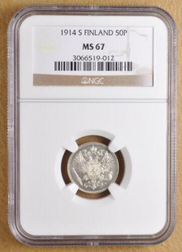 1914 S Finland 50 Pennia NGC MS67