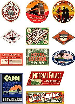 Vintage Style Travel Suitcase Luggage Labels Set Of 12 vinyl
