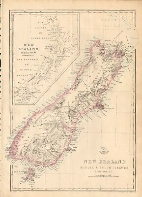 1863  LARGE ANTIQUE MAP - DISPATCH ATLAS- NEW ZEALAND, MIDDLE & SOUTH ISLANDS
