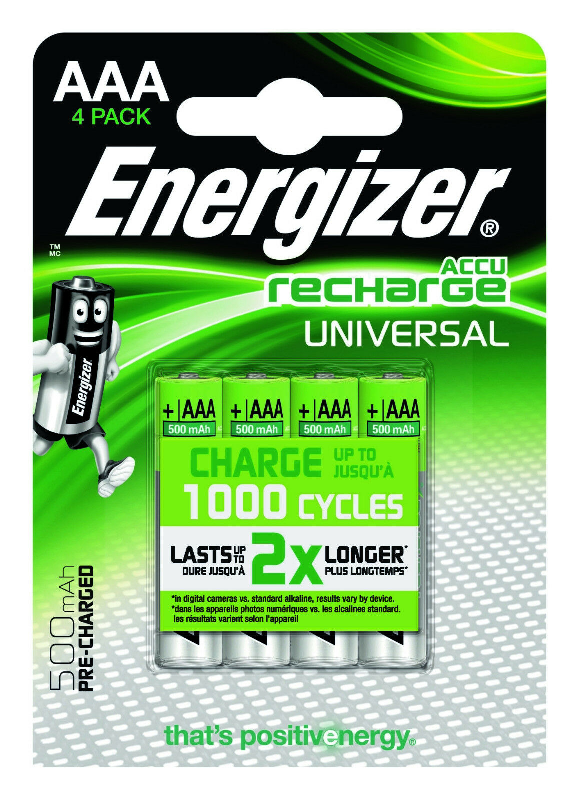 1 Blister mit 4 Stück Energizer ACCU RECHARGE  Batterien AAA Micro 500mAH 1,2V
