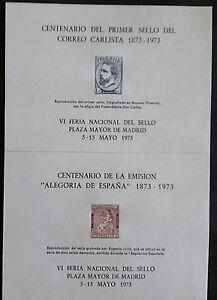 HOJAS-RECUERDO-ESPANA-EDIFIL-NUM-7-8-1973-CORREO-CARLISTA-Y-ALEGOR-A
