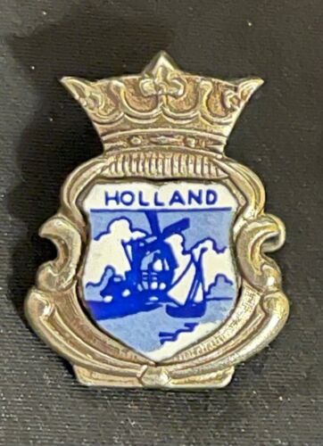 Vintage Holland Delft Blue Windmill Sailboat Small Enamel Lapel or Hat Pin