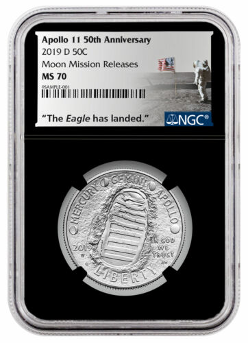 2019 D US Apollo 11 Clad Half Dollar Moon Mission Releases NGC MS70 Blk SKU58652