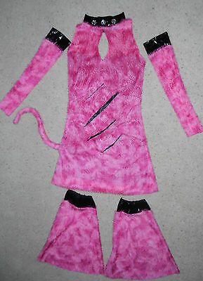 Punk Rock Halloween Costume Girl (PMG Halloween Costume 3pc Set Pink fuzzy Sexy Punk Rock Cat outfit Teen Girls)