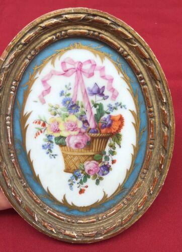 Antique Porcelain Plaque framed early floral hand decorated signed bow basket