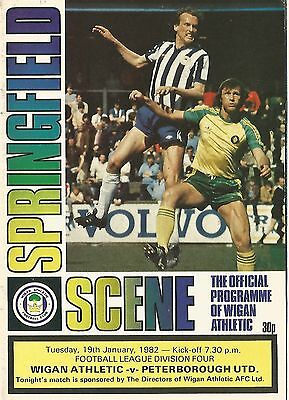 Football Programme - Wigan Athletic v Peterborough United - Div 4 - 1982