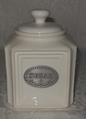 THL Farmhouse Beaded Shabby Chic Sugar Canister Off White NEW
