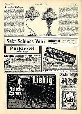 Hugo Helberger München elektrische Tischleuchten W. Imhoff Kassel Pfeifen...1901
