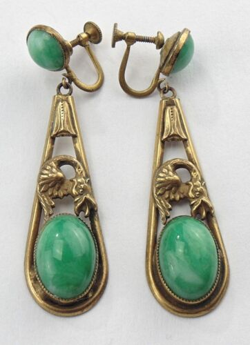 Antique CZECH Peking Glass Gilt Brass GRIFFIN Dangle Drop Screw Back Earrings
