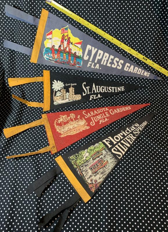 4 Vintage 1960s FELT SOUVENIR PENNANT Lot Florida Jungle Cypress Garden
