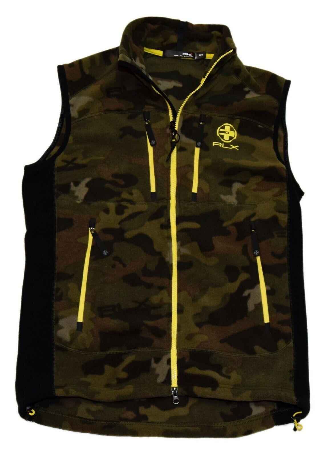 165-polo-ralph-lauren-rlx-fleece-zip-jacket-vest-camo-olive-green-brown-small