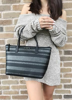 Kate Spade Haven Lane Hani Small Tote Glitter Stripe Black Silver Zip Handbag