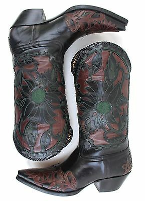 Liberty Boot Co Western Cowboy Inlay Rough Cut Leather Floral Snip Toe Women 7 B