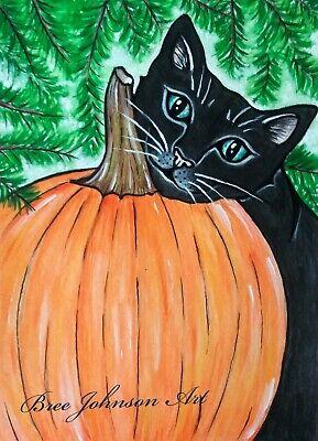 Halloween Pumpkin Artwork (ARTWORK PRINT 5x7 spooky black cat animal Fall Halloween pumpkin  Bree)
