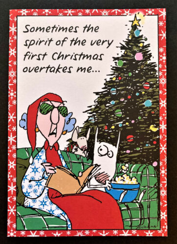 Vtg Maxine Christmas Card ONE 7x5 Shoebox Greetings Funny Made In USA