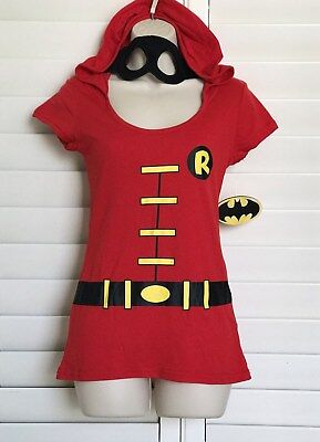 Batmans (ROBIN) Long Red Costume Shirt With Hood - Attached Eye Mask Everyday - Robin Costume Mask