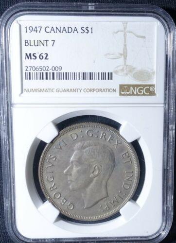 1947 Silver Canada Dollar NGC MS62