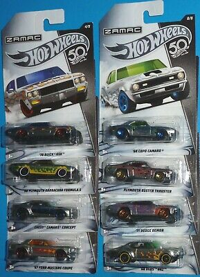 2018 HOT WHEELS Zamac 8 Car Set Camaro Mustang Olds 442 Buick GSX Cuda Walmart