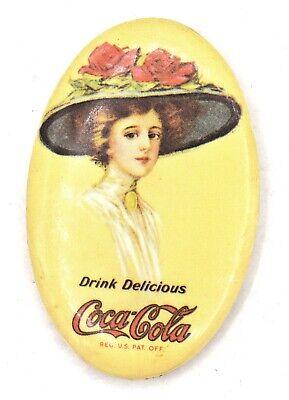 Vintage 1973 Coca Cola Coke Tin Oval Mirror Compact 19g Gibson Girl Style