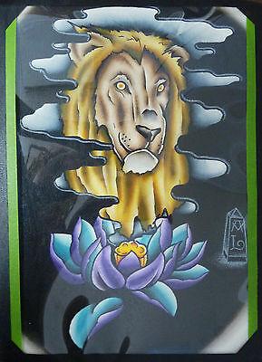原始绘画传统纹身闪光灯水彩狮子和莲花