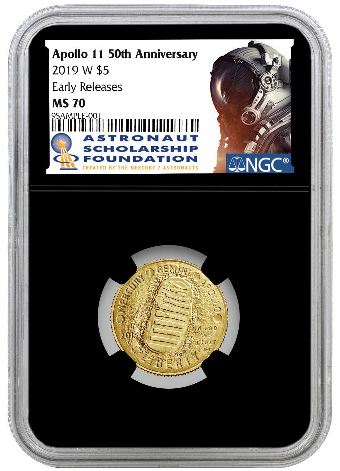 2019 P Aust Apollo 11 Moon Landing 1oz Silver $1 NGC MS70 FR Black Core SKU57692