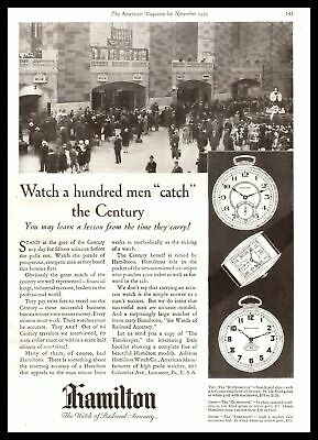"""1929 Hamilton Pocket Watches """"The Watch Of Railroad Accuracy"""" Vintage Print Ad"""