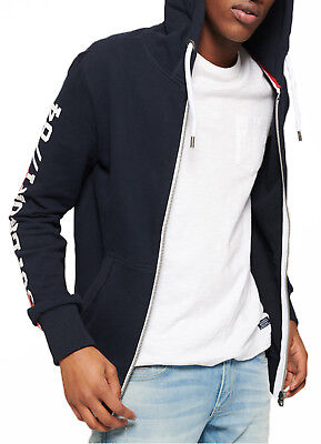 Superdry Orange Label Zip Up Hoodie Mens Sweatshirt Hood Sweat Top Pitch Navy