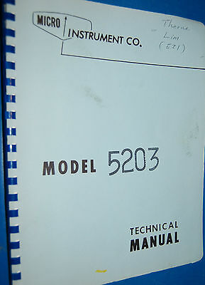 Micro Instrument Co. 5203 Memory Voltmeter Technical Manual
