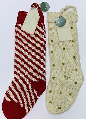 New West Elm Natural w/ Gold Stars or Red / Natural Knit Wool Christmas Stocking ()
