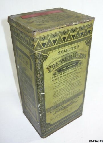 Parke Davis Selected Pressed Herbs Vintage Druggist Tin Shelf Display Container