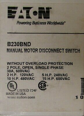 Eaton Cutler Hammer B230bnd Manual Motor Switch 2-15hp 120-600vac 2p 30a 724f