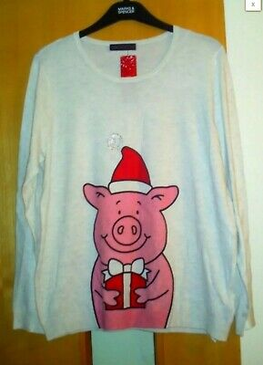 M & S Percy Pig Christmas Jumper Size 20 BNWT