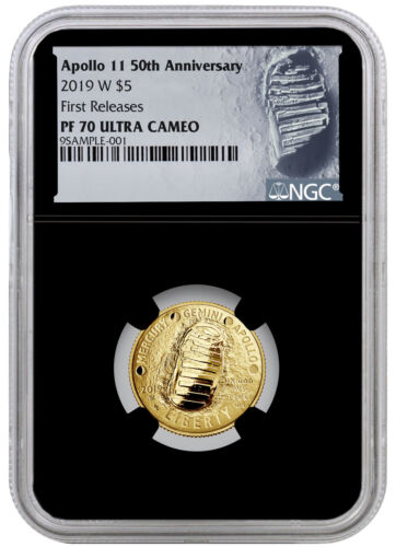 2019 W Apollo 11 50th $5 Gold Commemorative NGC PF70 FR Black Core SKU57111