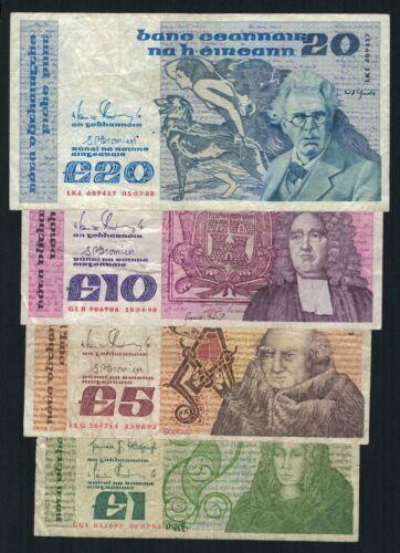 Old Irish Banknotes 1 5 10 20 Pound Series B 1985 1988 1990 1992 Bank Of Ireland