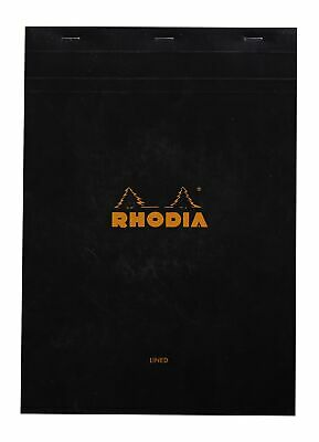 Rhodia Staplebound Notebook 6 X 8 Lined Paper Black