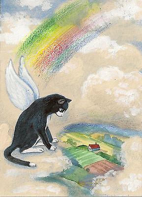 Fairy Cat Painting (ACEO PRINT OF PAINTING RYTA TUXEDO CAT ANGEL RAINBOW BRIDGE FAIRY WHIMSICAL)