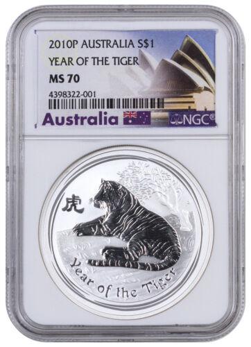 2010-P Australia $1 1 oz. Silver Lunar Year Tiger NGC MS70 (Excl Label) SKU42243