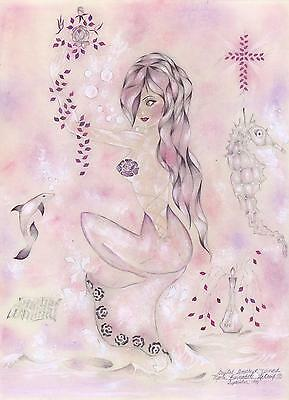CRYSTAL AMETHYST MERMAID SEAHORSE MESSAGE IN A BOTTLE PASTEL DRAWING PAINTING