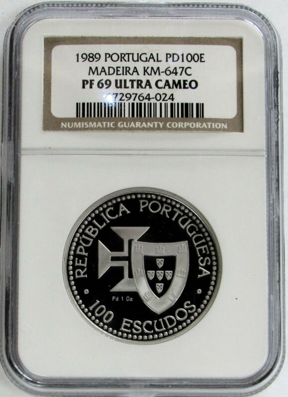 1989 PALLADIUM PORTUGAL 100 ESCUDOS MADEIRA NGC PROOF 69 ULTRA CAMEO