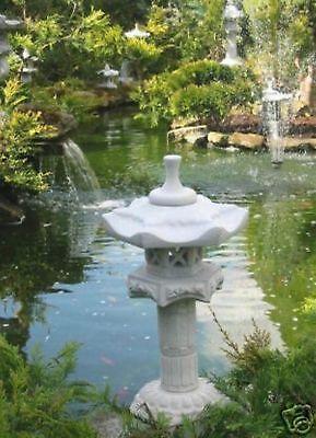 Japanische Steinlaterne Yukimi auf Säule A Laterne Frost u. Wetterfest Steinguss