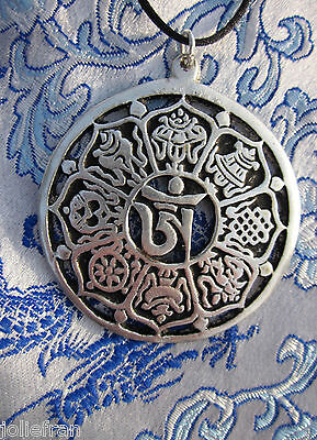 "2"" TIBETAN BUDDHIST OM /8 AUSPICIOUS SYMBOLS TIBETAN SILVER PENDANT BLACK CORD"