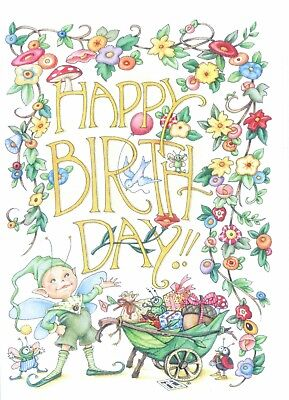 Mary Engelbreit-HAPPY BIRTHDAY Elf Insects-Happy Birthday Card-NEW!  - Elf Birthday