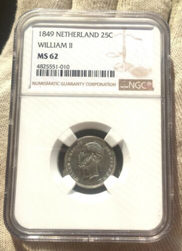 NETHERLANDS SILVER 25 CENTS WILLIAM II 1849 MS 62 NGC 4825551-010